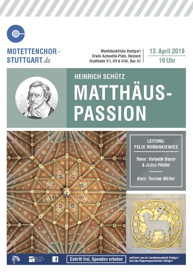 Bild vom Plakat des Passionskonzerts Stuttgart-Heslach, Motettenchor Stuttgart