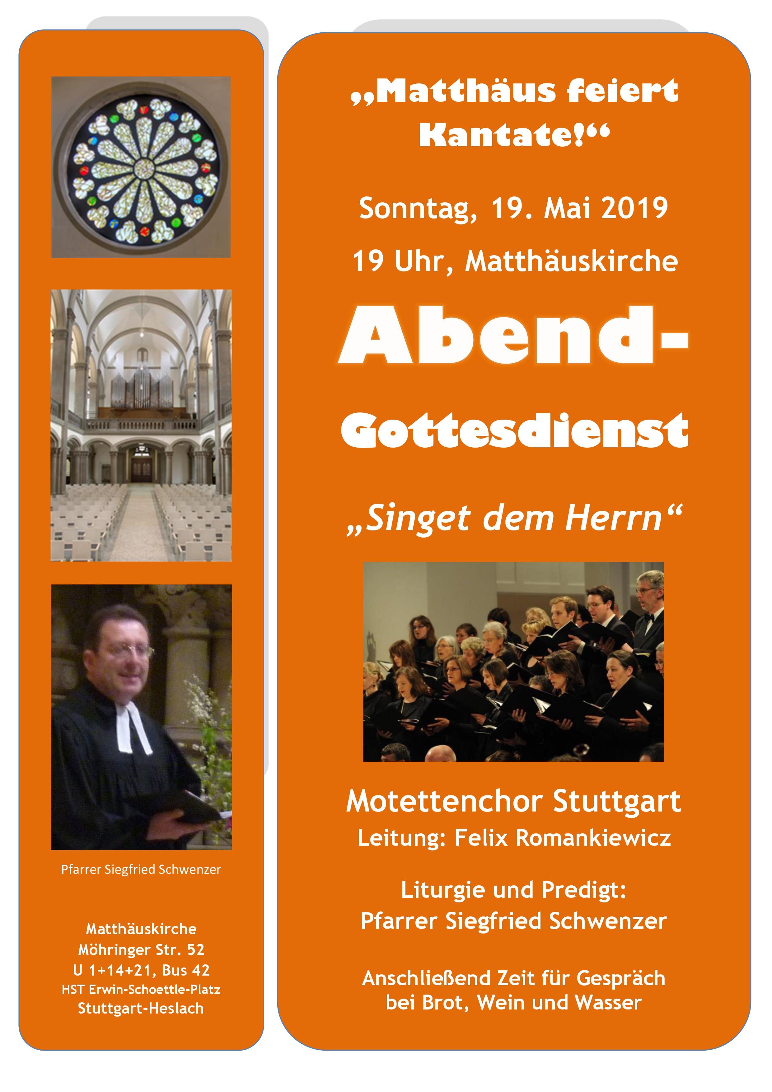 Bild vom Flyer Matthäus feiert Kantate Motettenchor Stuttgart Mai 2019