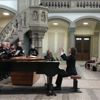 Hauptprobe in der Matthäuskirche Stuttgart-Heslach zum Passionskonzert, März 2018